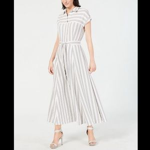 CALVIN KLEIN Striped Belted A-Line Maxi Dress